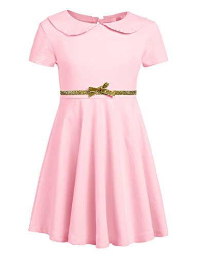 efae0685e96 Arshiner Girls Short Sleeve Doll Collar Dress Solid Color A Line Peter Pan  Collar Cotton Dress