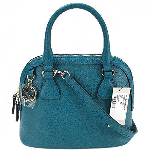 Gucci Women's Pebbled Leather Ocean Blue Satchel Handbag Bag