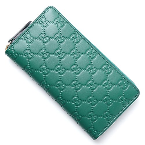 Gucci Green Guccisima Continental Zip Leather Wallet Box New