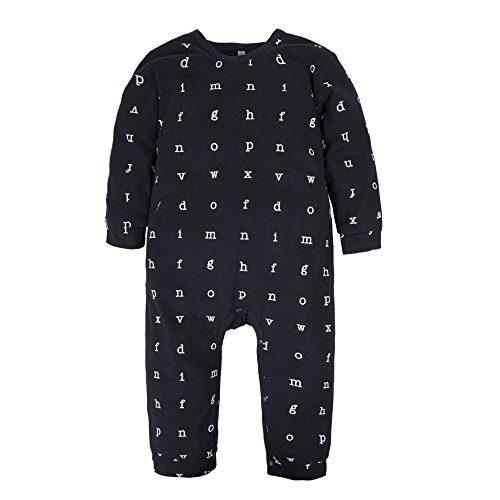 BIG ELEPHANT Baby Boys'1 Piece Long Sleeve Letters Print Romper Jumpsuit Black 9-12 Months