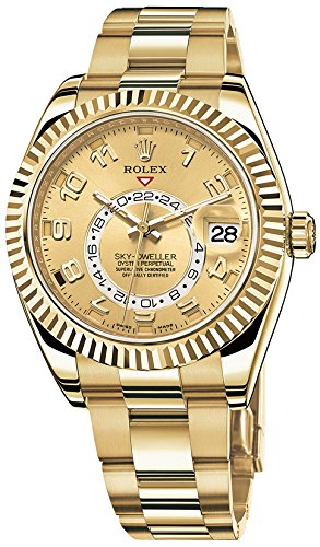 Rolex Sky Dweller Champagne Dial GMT 18kt Yellow Gold Mens Watch