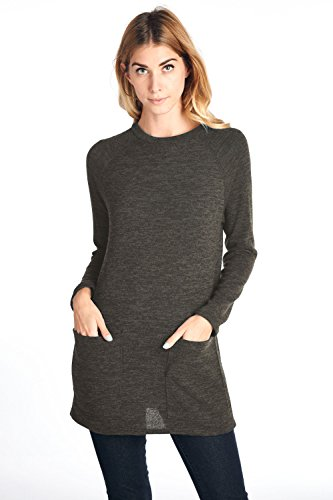 12 Ami Pocket Front Knit Long Sleeve Sweater Mocha L