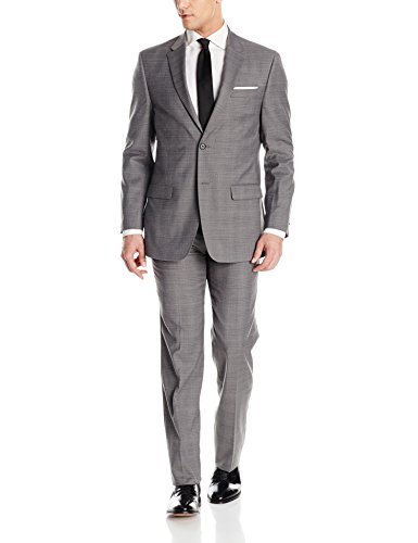 Tommy Hilfiger Men's Two Button Slim Fit Glenplaid Suit, Grey, 44 Regular
