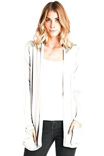 12 Ami Basic Long Sleeve Open Front Pocket Cardigan White XL