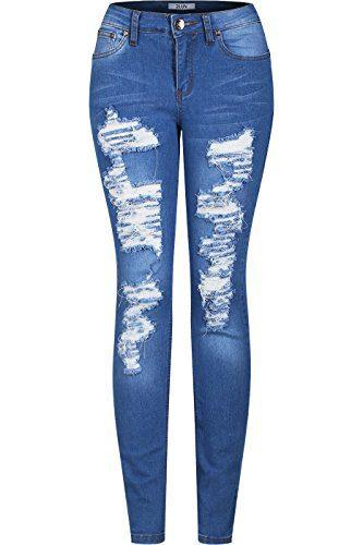 2LUV Women's Stretchy 5 Pocket Destroyed Medium Denim Skinny Jeans Medium Blue 11