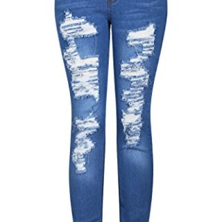 2LUV Women's Stretchy 5 Pocket Destroyed Medium Denim Skinny Jeans Medium Blue 11