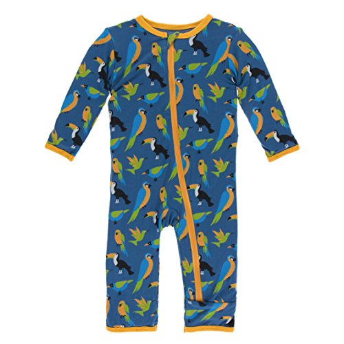 Kickee Pants Little Boys Print Coverall With Zipper - Twilight Tropical Birds, 12-18 Months