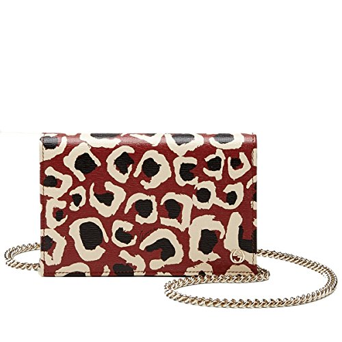 Gucci Red Leopard Print Leather Chain Cross Body Clutch Bag