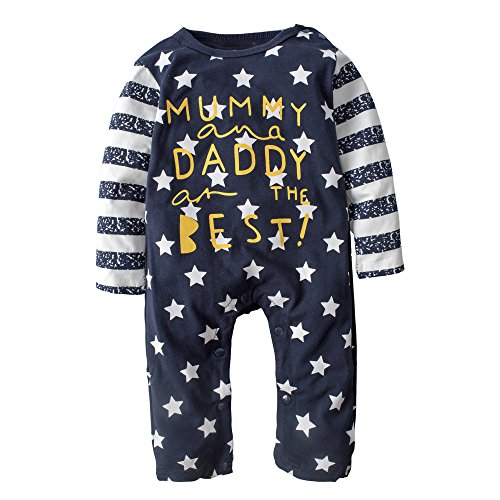 BIG ELEPHANT Baby Boys' 1 Piece Long Sleeve Romper Clothes Pajama Navy J04