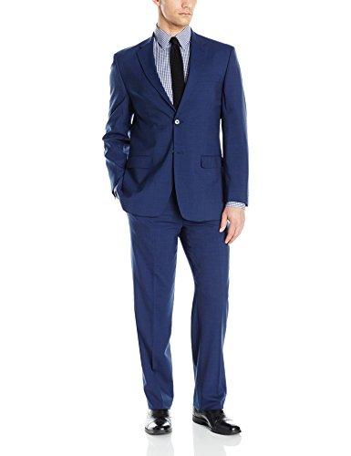 Tommy Hilfiger Men's Two Button Slim Fit Solid Suit, Navy, 48 Regular