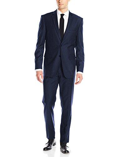 Alain Dupetit Men's Two Button Tr Blend Suit, Slate Blue, 46 Short/40 Waist