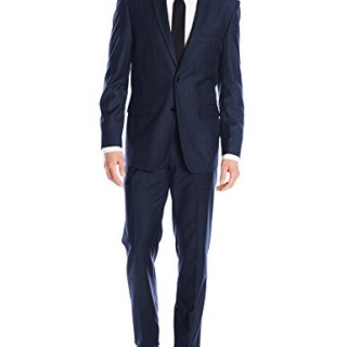 Alain Dupetit Men's Two Button Tr Blend Suit, Slate Blue, 46 Short/40 Waist