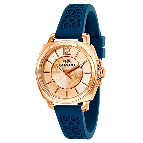 Coach Women's Mini Boyfriend Signature Blue Strap Rose Gold Tone Watch