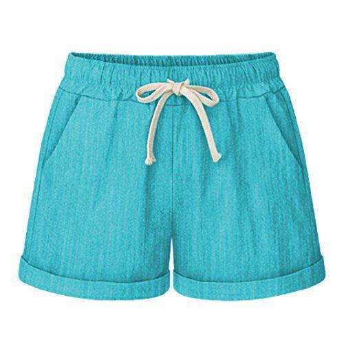 Chartou Women's Elastic Waist Cotton Linen Casual Beach Shorts with Drawstring (Large, Green)