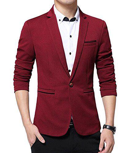 Benibos Men's Slim Fit Casual Premium Blazer Jacket (XL, 1416Burgundy)