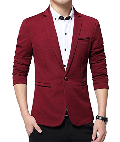 Benibos Men's Slim Fit Casual Premium Blazer Jacket (XL, 1416Burgundy)