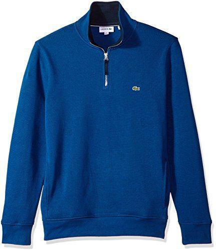 Lacoste Men's Long Sleeve 1/4 Zip Interlock Cotele Sweatshirt, Marino/Navy Blue, X-Large