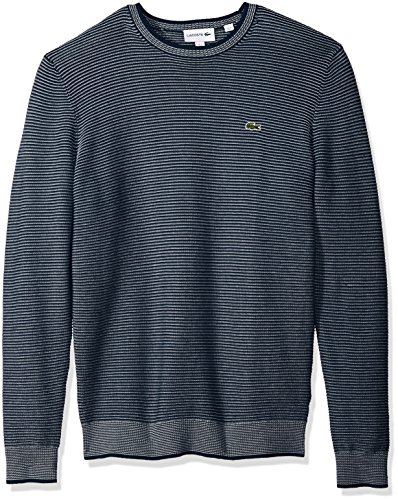 Lacoste Men's Long Sleeve Mille-Raye Ottoman Sweater, AH3986, Navy Blue/Cake/Flour White, XX-Large