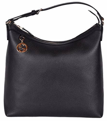 Gucci Women's Leather GG Charm Purse Hobo Handbag (Black)