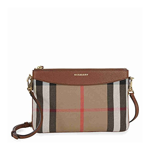 Burberry Women s House Check and Leather Clutch Bag Beige + Brown ... e6efff44ac5db