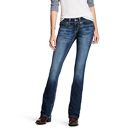 Ariat Women's R.E.A.L. Low Rise Boot Cut Jean, Sundown Gwen, 27 Long