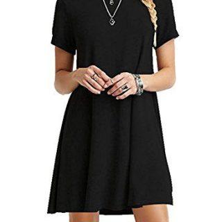 AUSELILY Women's Summer Short Sleeve Casual Flowy T-Shirt Dress (L, Black)