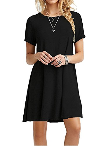 AUSELILY Women's Summer Short Sleeve Casual Flowy T-Shirt Dress (L, Black)