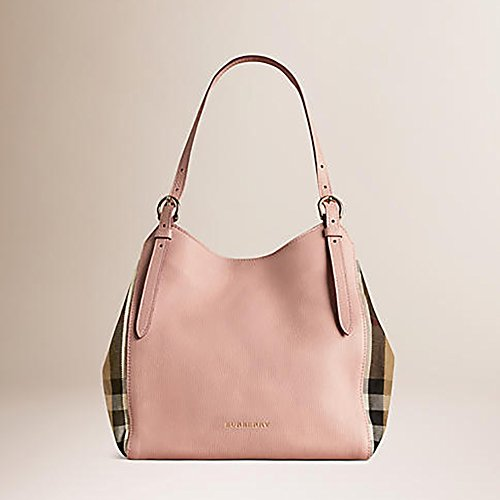 Tote Bag Handbag Authentic Burberry Small Canter in Leather and House Pale Orchid color Made in Italy
