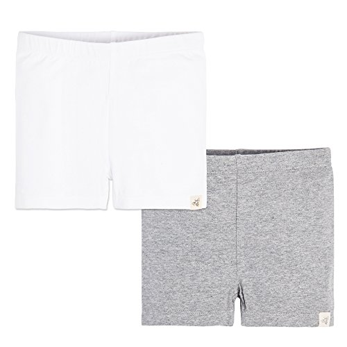 Burt's Bees Baby Little Kids 2 Pack Organic Bike Shorts, Cloud/Heather Grey, 5