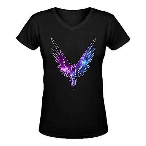 Maverick Logo T Shirt,Logan Paul Logang YouTube womens V Neck T-Shirts Black, Large