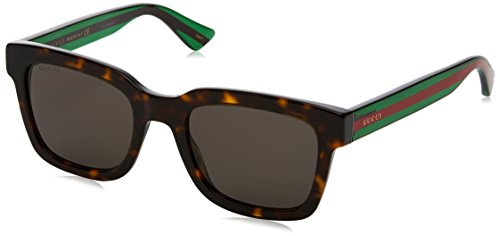 Gucci Fashion Sunglasses, 52/21/145, Avana / Grey / Green
