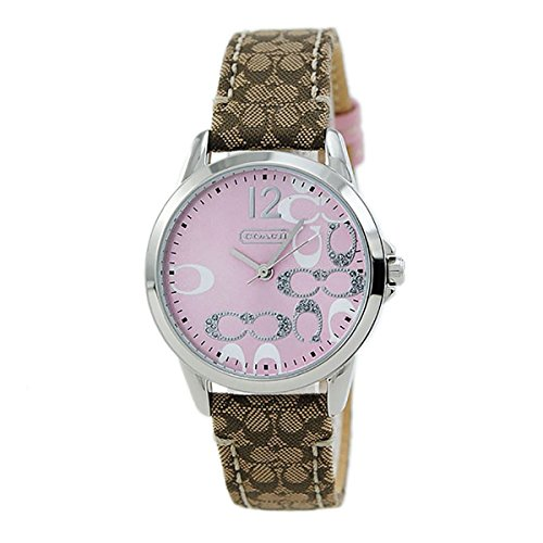 Coach Womens Classic Signature Strap Pink Dial Watch