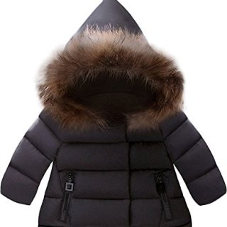 Jojobaby Baby Boys Girls Hooded Snowsuit Winter Warm Fur Collar Hooded Down Windproof Jacket Outerwear (3-4 Years, Black)
