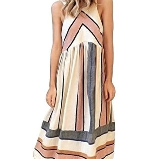 Asvivid Womens Summer Sleeveless Halter Fit and Flare Casual Striped Midi Dress Small As Shown