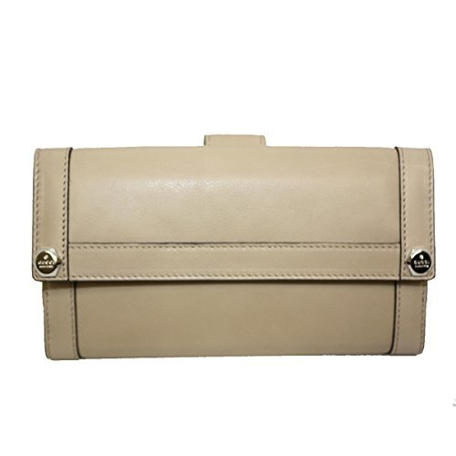 Gucci Leather Continental Flap Wallet, Cream