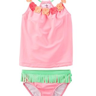Carter's Girls' Short Sleeve Rash Guard Swimsuit Set (Baby/Toddler/Kid) (4-5, Hawaiian Tankini)