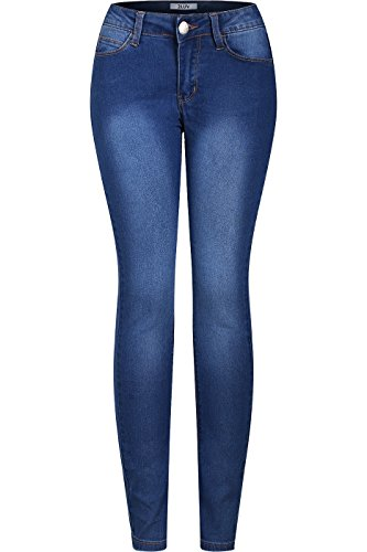 2LUV Women's Stretchy 5 Pocket Dark Denim Skinny Jeans Blue Denim 5
