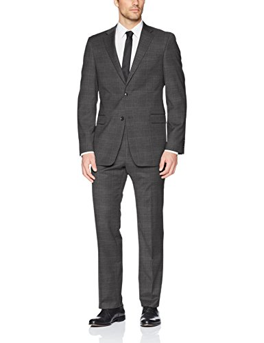 Tommy Hilfiger Men's Vassar Single Breast 2 Button Suit, Gray Window Pattern, 42 Regular