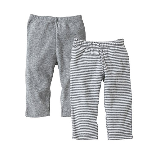 Burt's Bees Baby Set of 2 Bee Essentials Footless Pants, 100% Organic Cotton, 1 Solid + 1 Stripe, Heather Grey,3-6 Months