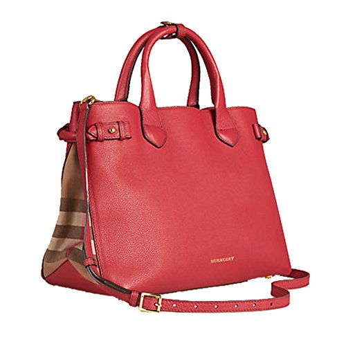 Tote Bag Handbag Authentic Burberry Medium Banner in Leather and House Check Russet Red Item