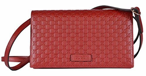 Gucci Women's Leather Micro GG Guccissima Crossbody Mini Wallet Purse Bag (Red)