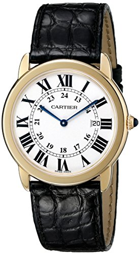 Cartier Men's Ronde Black Leather Roman Numeral Watch
