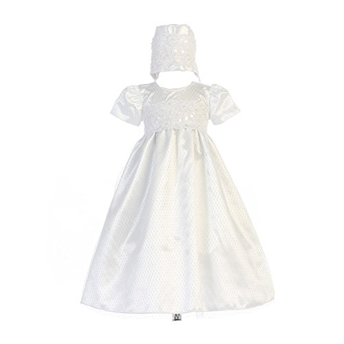 Swea Pea & Lilli Baby Girls White Diamond Mesh Lace Trim Ruby Bonnet Baptism Dress 12-18M