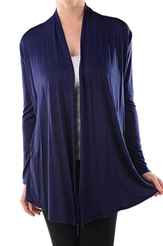 Women's Basic Rayon Open Front Drape Long Sleeves Cardigan (NAVY-M)