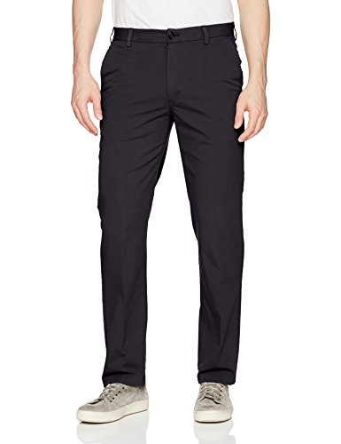 Van Heusen Men's Traveler Non Stop Flat Front Stretch Pant, Black, 36W X 32L