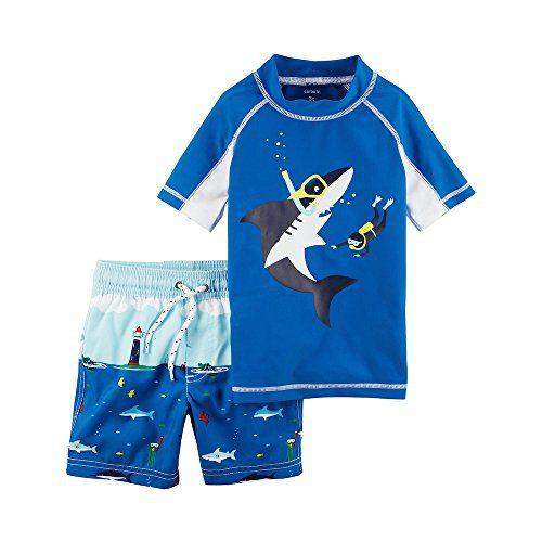 Carter's Boys' 2T-8 Short Sleeve Top and Swim Trunks Set 6