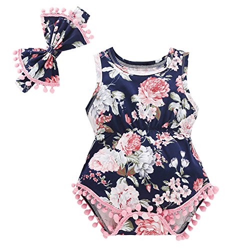 Baywell Baby Girl Romper Outfit Set, Sleeveless Floral Printed Bow-Knot Headband 2 PCs (M/3-6M/73, Pink1)