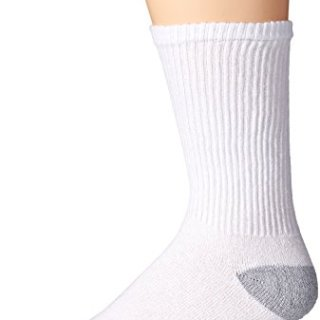 Gildan Men's Crew Socks (10 Pair Pack), White, Shoe Size: 6-12
