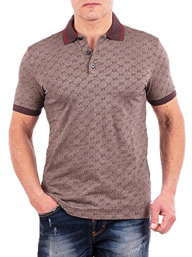 fdc491c41 Gucci Polo Shirt, Mens Brown Short Sleeve Polo T- Shirt GG Print All Sizes