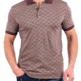 Gucci Polo Shirt, Mens Brown Short Sleeve Polo T- Shirt GG Print All Sizes (S)